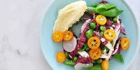 Spring Things Salad with Pickled Kumquats + Whipped Brie