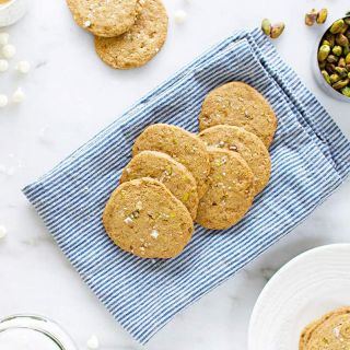 White Chocolate Pistachio Cookie Crisps (Gluten-Free/Egg-Free)
