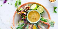 Fresh Lobster Spring Rolls with Easy Peanut Dipping Sauce