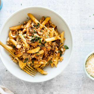 Easy Eggplant Parmesan Pasta