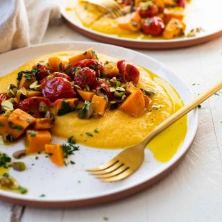 Vegan Grits Bowls with Roasted Sweet Potatoes and Tomatoes