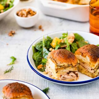 Baked Cheddar, Apple + Smoked Turkey Sliders