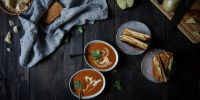 tomato-bacon bisque + apple-bacon grilled cheese | two red bowls guest post