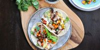 charbroiled lemongrass chicken + tamago banh mi tacos with five spice mayo