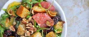 holiday panzanella with duck-fat roasted croutons, winter citrus + hazelnuts
