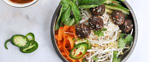 vietnamese meatball bún with honey-aleppo nuoc cham