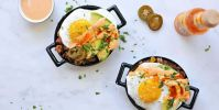 simple chorizo hash and eggs with smoked paprika mayo