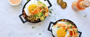 simple chorizo hash and eggs with smoked paprika mayo