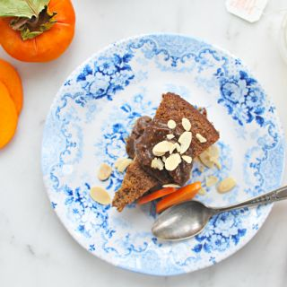 Flourless Persimmon Cake with Black Pepper-Molasses Date Caramel (DF/GF)