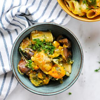 Three Cheese Butternut Squash Pasta Bake with Mushrooms + Chard