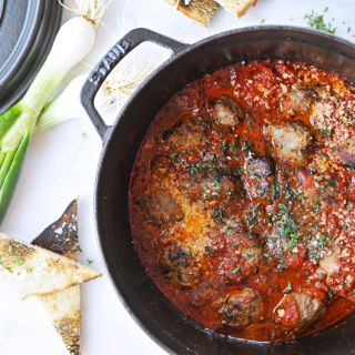 Pan-Braised Meatballs with Spring Onions + Parm (Toddler Friendly!)