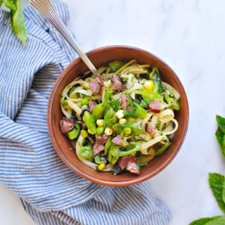 Endless Summer Noodle Bowls: Miso Butter Linguine with Sweet Corn, Snap Peas + Summer Sausage