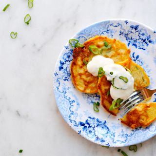 Cheesy Corn + Scallion Cakes (with Maple'd Greek Yogurt)