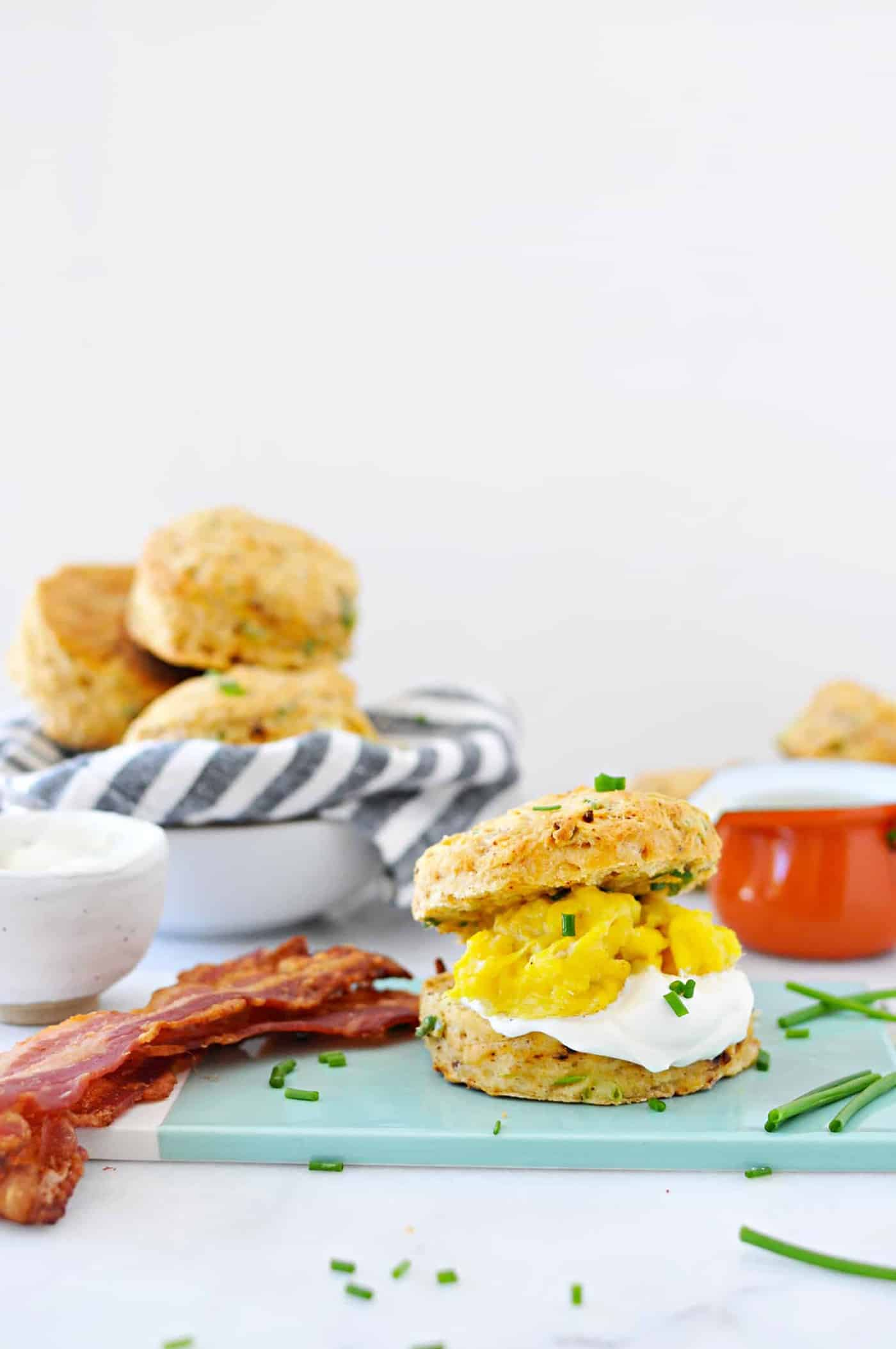 Chorizo + Scallion Sour Cream Biscuit + Egg Sandwiches recipe (via thepigandquill.com) #breakfast #brunch