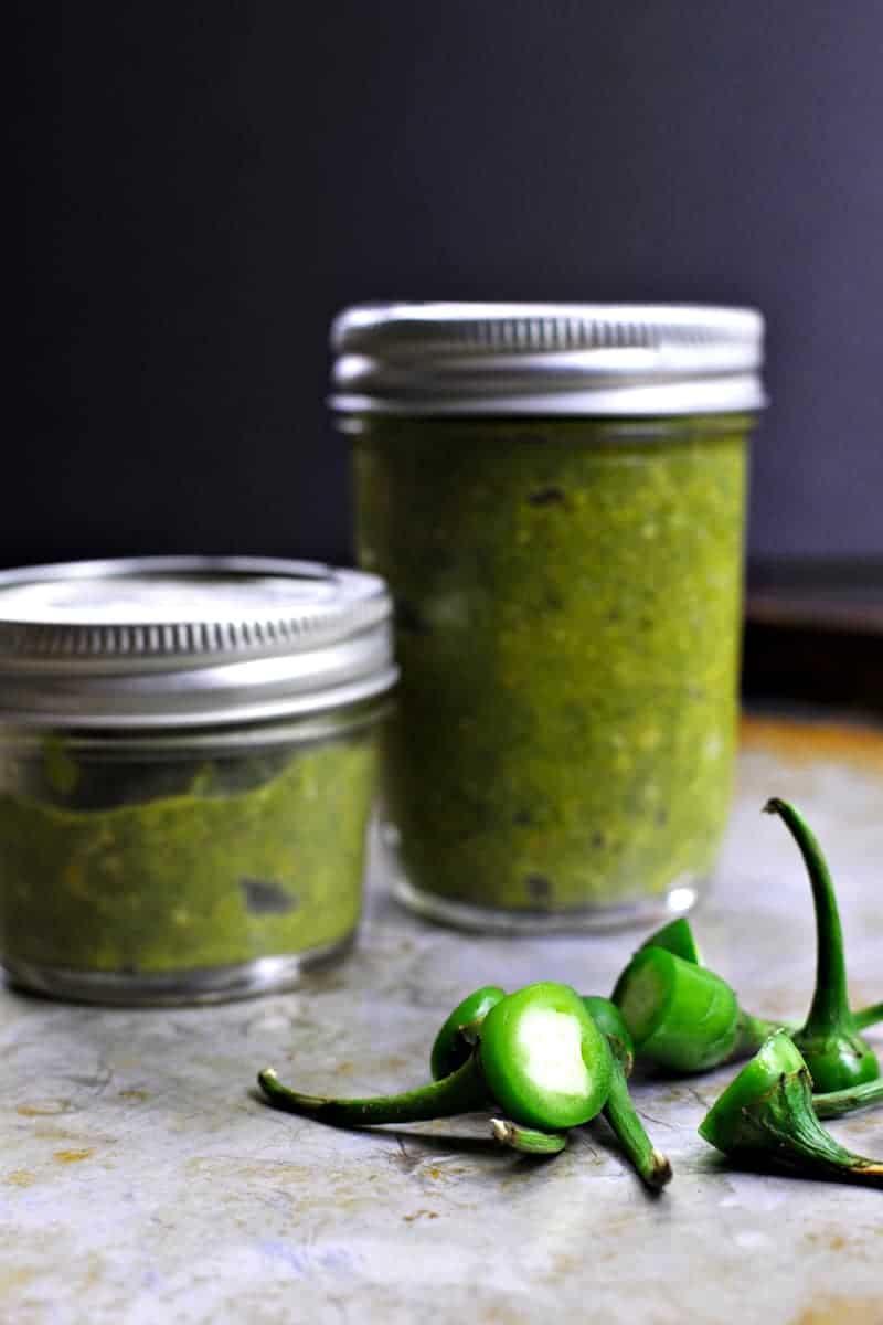 Green Chili-Garlic Sauce recipe (gluten-free, paleo, vegan variation) via thepigandquill.com #spicy #asian