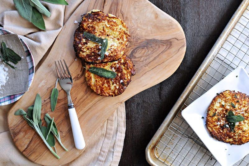 parmesan-ricotta spaghetti squash fritters with crispy fried sage | the pig & quill | #grainfree #vegetarian #fall #recipe