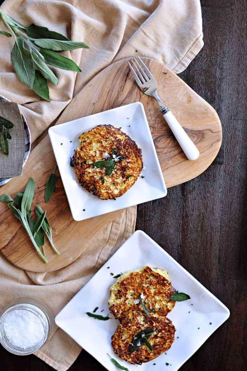 parmesan-ricotta spaghetti squash fritters with crispy fried sage   the pig & quill   #grainfree #vegetarian #fall #recipe