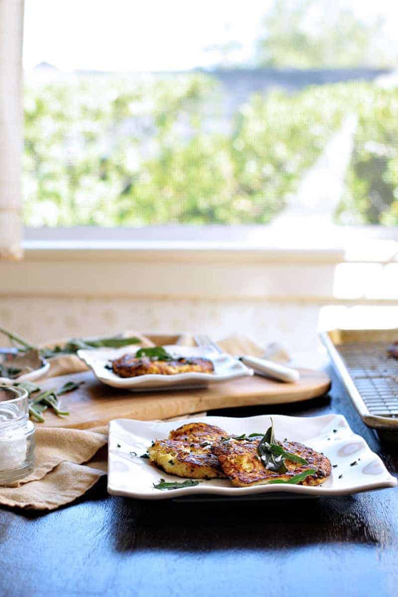 Parmesan-Ricotta Spaghetti Squash Fritters with Crispy Fried Sage recipe (via thepigandquill.com) #vegetarian #thanksgivingmenu #glutenfree