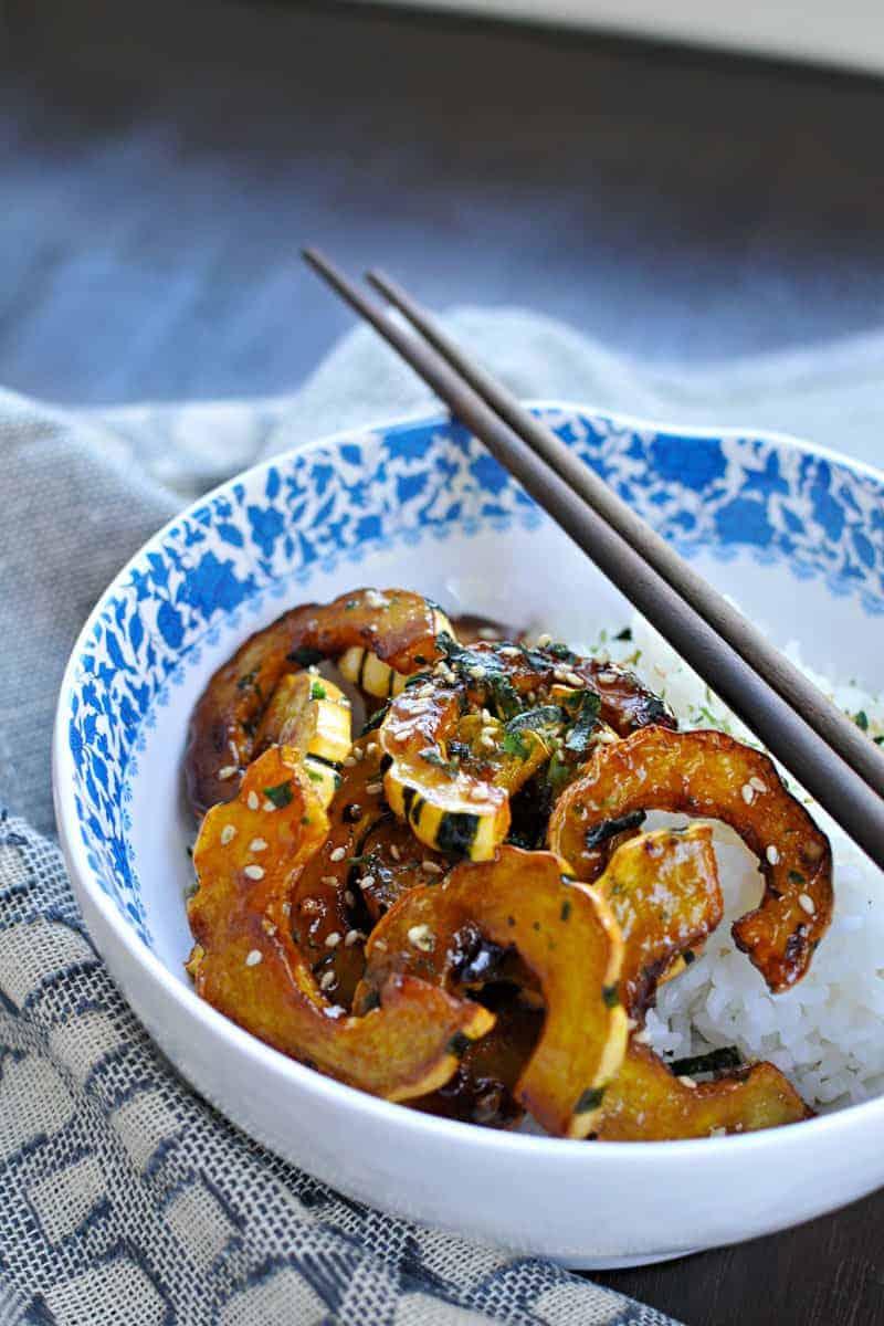 fried honey-garlic delicata with white miso + furikake // the pig & quill // #glutenfree #fall #vegan #QSquaredNYC
