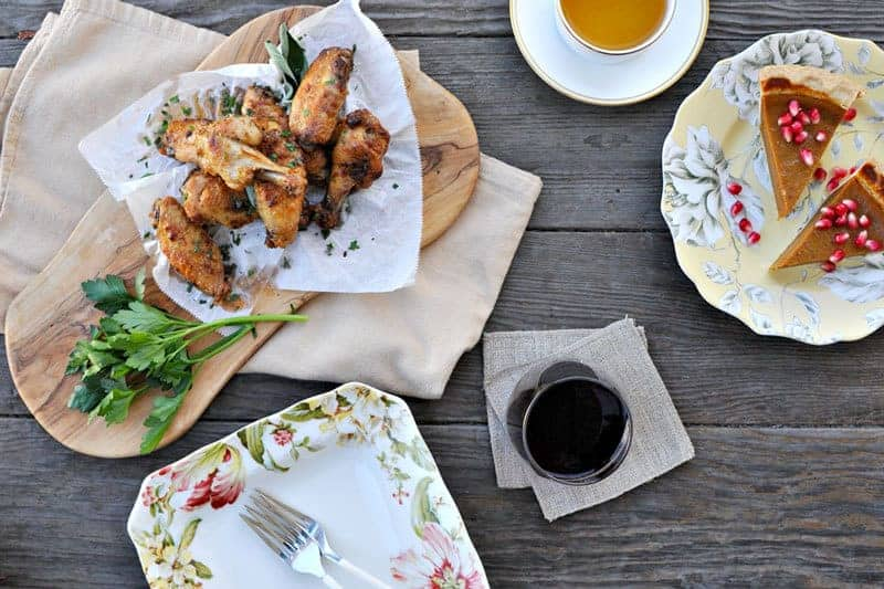 60-minute (Mini) Thanksgiving: Mayo-Roasted Chicken Wings, Cranberry + Spice Brussel Sprouts and Pumpkin-Pecan Stuffing with Cheddar + Thyme // the pig & quill // #thanksgiving #holiday #fall #recipe
