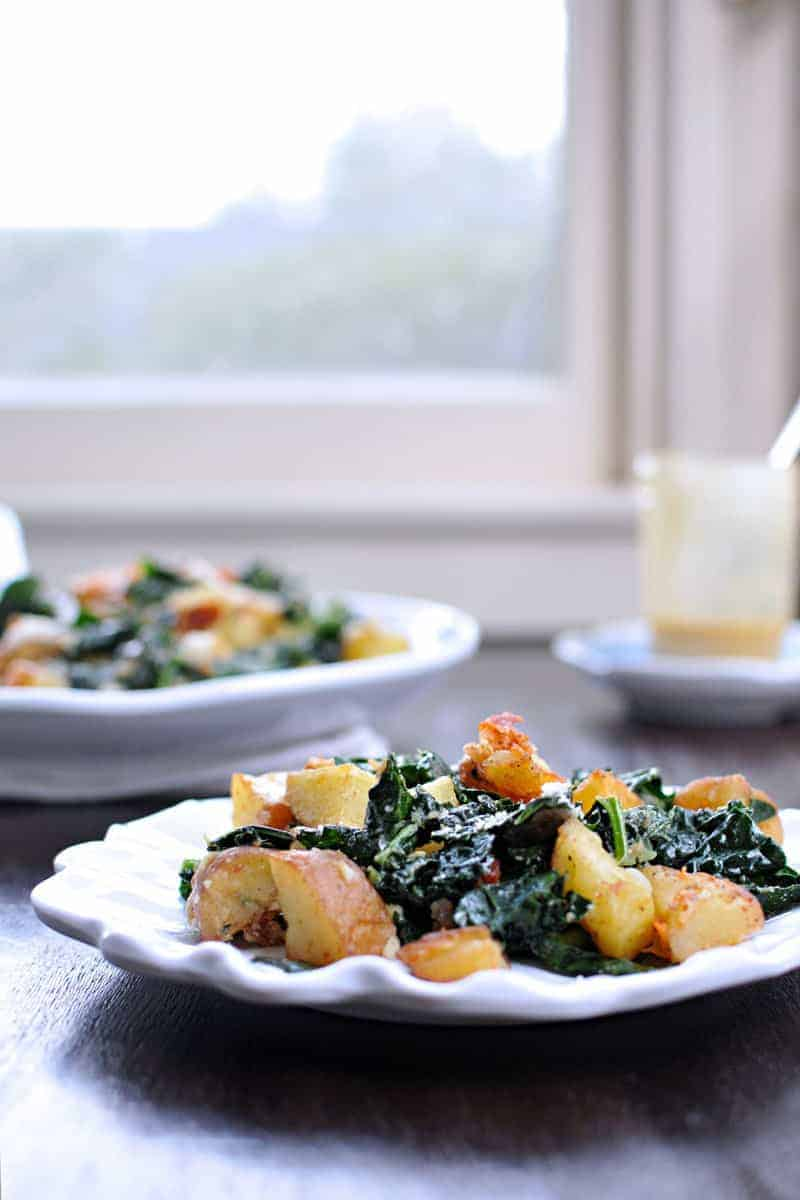 Fancy, cozy and totally easy -- on the table in 30 mins! Full recipe at thepigandquill.com. (#glutenfree with #vegetarian mods.) #fall #salad #recipe #potatoes #kale