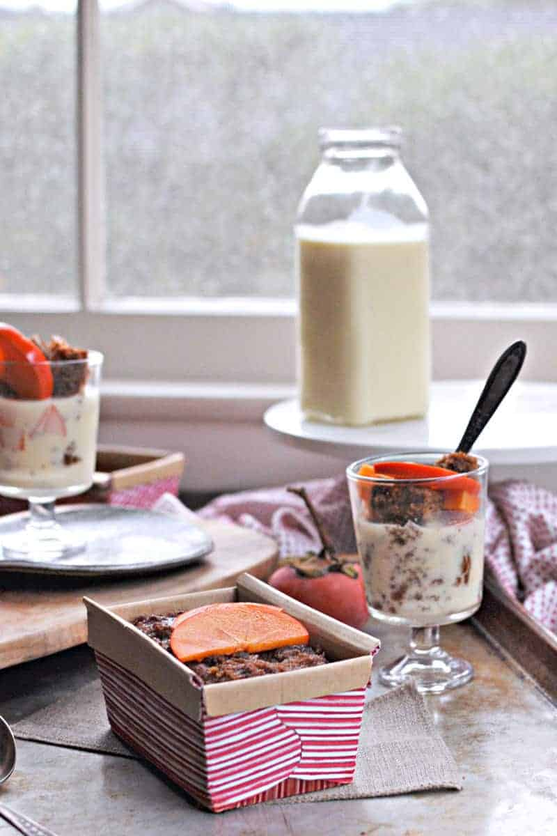 Two recipes in one! Perfect little giftable cakes and festive parfaits perfect for the holidays. Full recipe at www.thepigandquill.com.  #grainfree #holidays #recipe #baking #christmas #newyears #eggnog