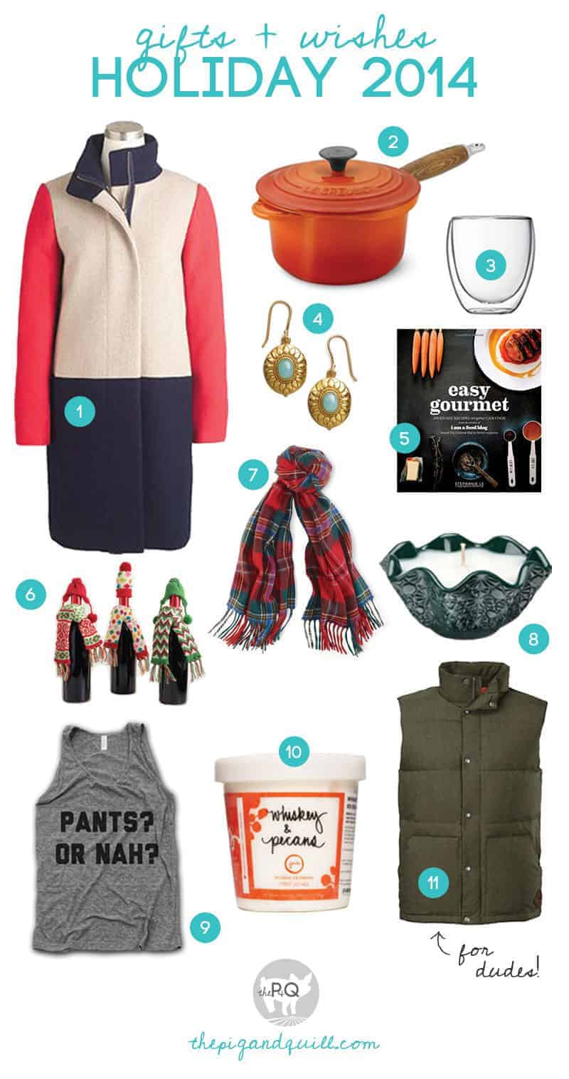 My fave giftables (foodie and otherwise!) for Holiday 2014  -- Links and descriptions at www.thepigandquill.com #holiday #giftguide #christmas #gifts