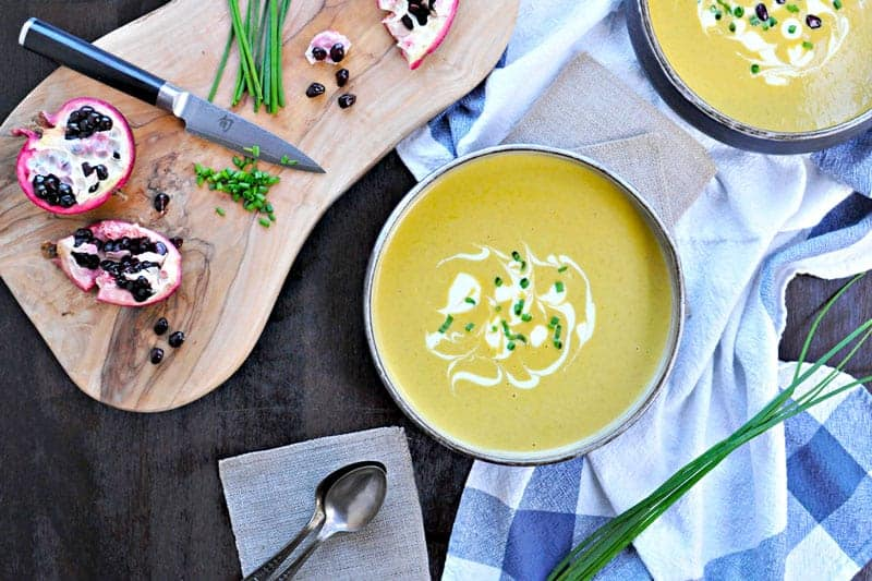 A warm and cozy winter soup with a hint of spring. #Glutenfree with #vegan mods. Find the full recipe at www.thepigandquill.com.