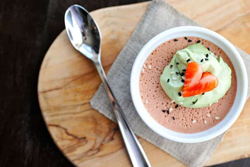 Strawberry-Sesame Panna Cotta with Matcha Whip! Just 20 mins prep + chilling. Full recipe at www.thepigandquill.com. #recipe #sweets #valentinesday #dairyfree