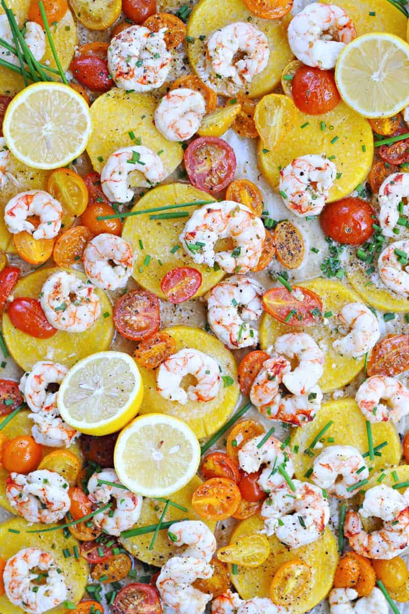 Roasted One-Pan Shrimp + Polenta with Halloumi or Pancetta Crisps (via thepigandquill.com)