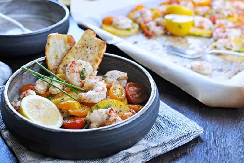Roasted One-Pan Shrimp + Polenta with Halloumi or Pancetta Crisps (via thepigandquill.com)