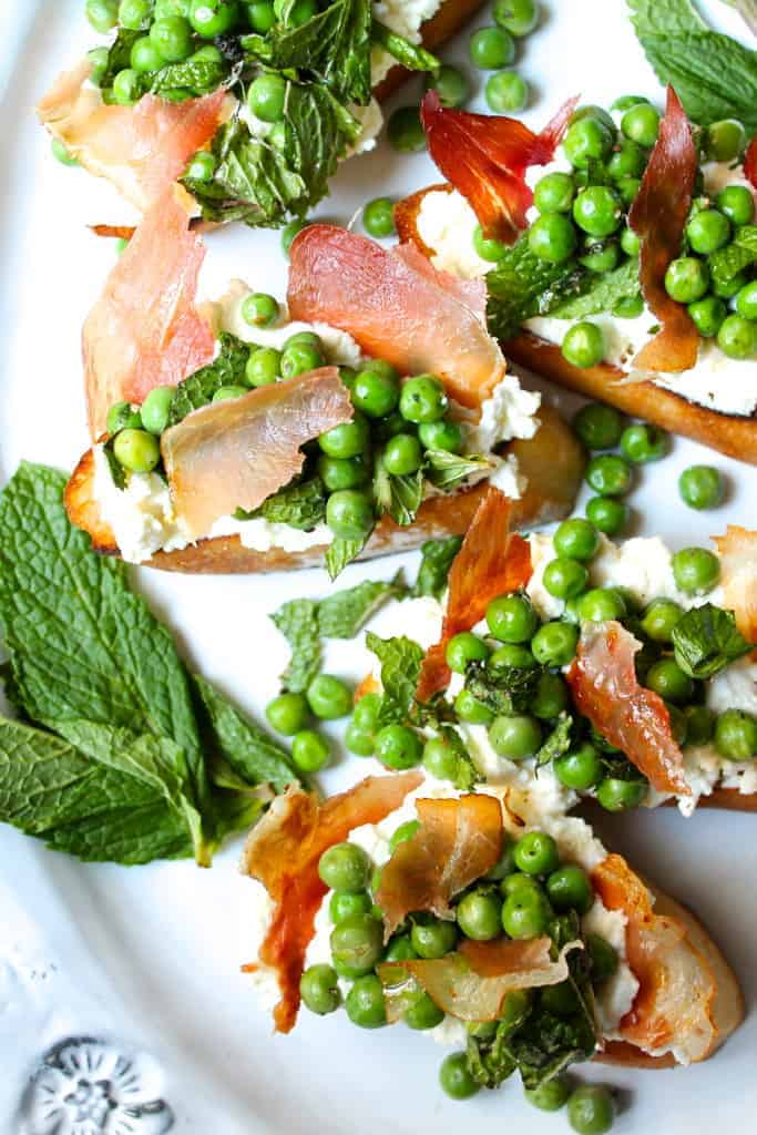 Minty Pea + Ricotta Toast with Crispy Prosciutto via A Little Saffron // #EmsPigletParty