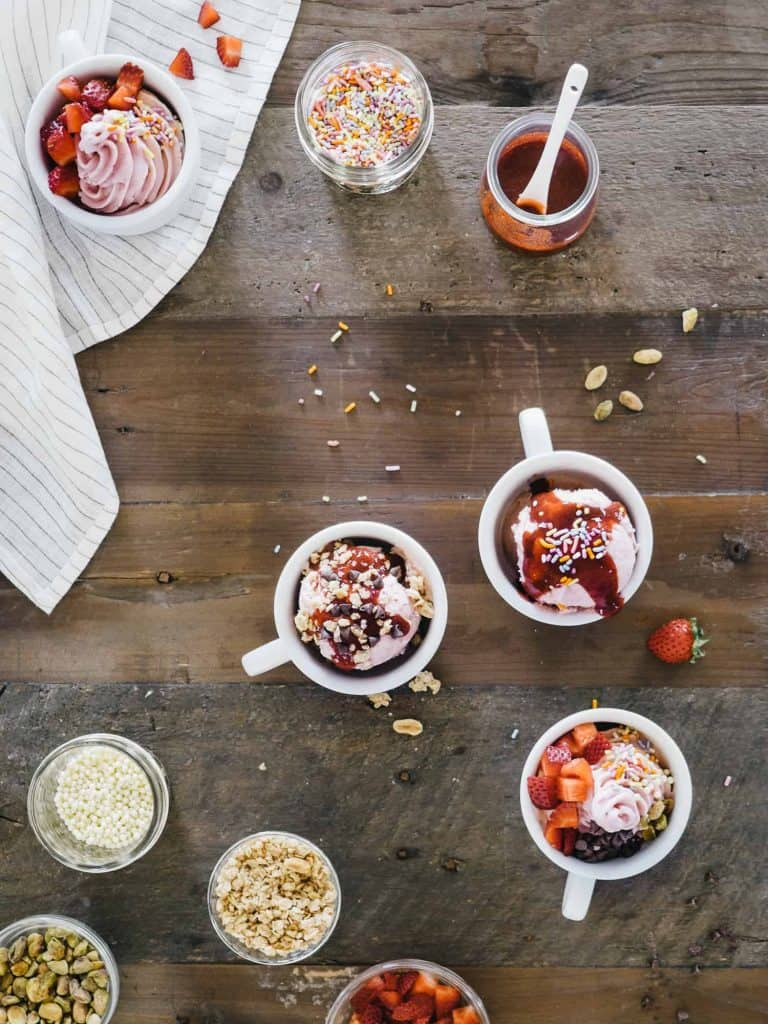 Strawberry Balsamic Goat's Milk Frozen Yogurt via Fix Feast Flair // #EmsPigletParty