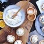 mini meyer lemon cannoli cream tartlets with honey + chocolate chips | via thepigandquill.com