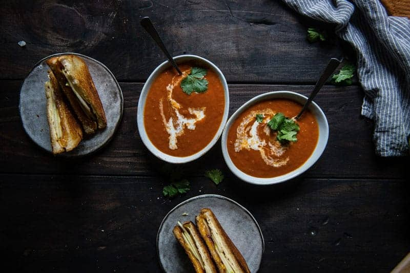 tomato-bacon bisque + apple-bacon grilled cheese  two red bowls guest post! (via thepigandquill.com)