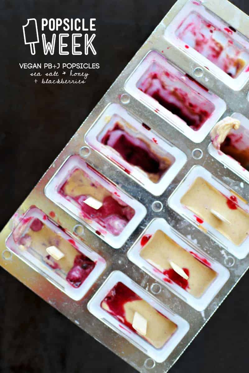 vegan peanut butter + jelly popsicles (or ice cream) via www.thepigandquill.com | #popsicleweek #summer #recipe #vegan