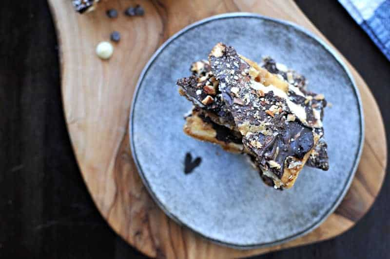 Salted Double Chocolate Cracker Crack (Saltine Toffee) with Roasted Almonds   via thepigandquill.com #recipe #sweets #candy #chocolate