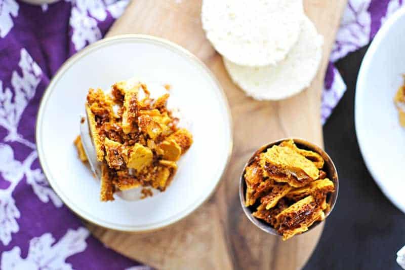 Mini Coffee Crunch Cakes recipe (via thepigandquill.com) Chiffon cake layered with coffee coconut cream coffee crunch honeycomb | #cake #coffee #recipe #desserts #dairyfree