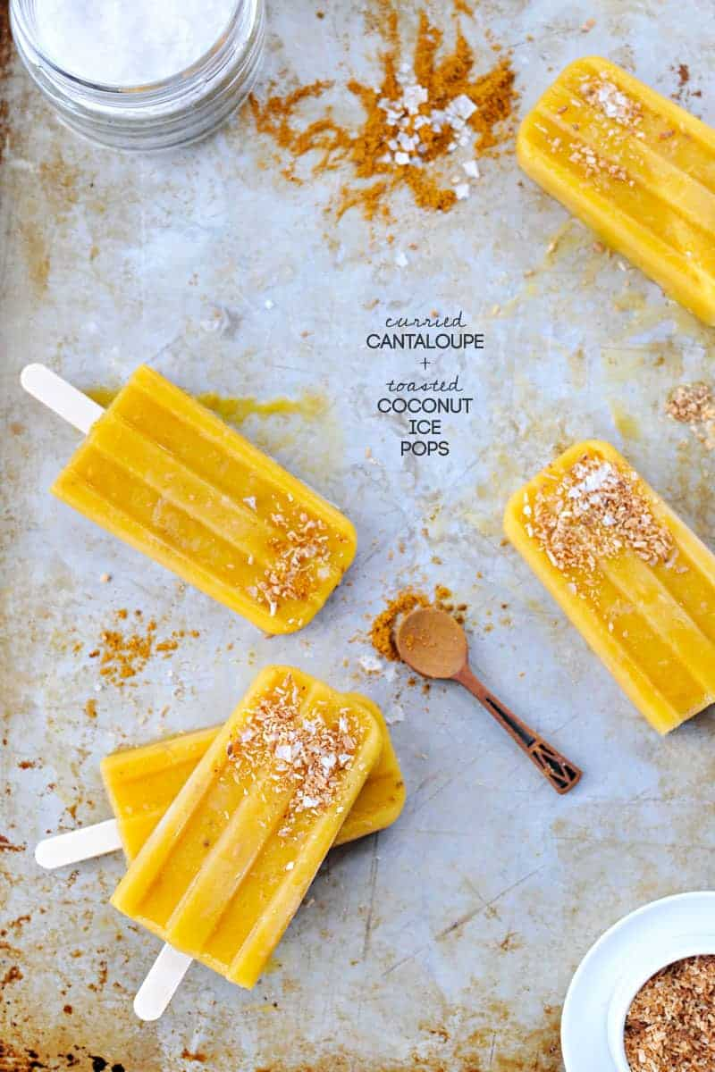curried cantaloupe + toasted coconut ice pops recipe (via thepigandquill.com) #spicy #vegan #dairyfree #sweets