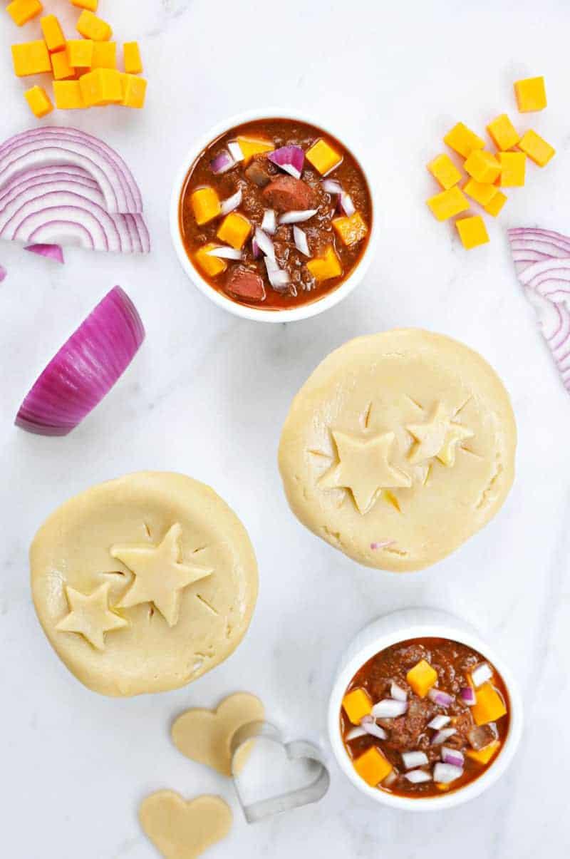 mini chili cheese dog pot pies recipe (via thepigandquill.com) #superbowl