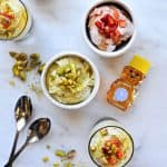 Honeyed Pistachio and Balsamic-Roasted Strawberry Coconut Mousse recipe (via thepigandquill.com) #dairyfree #dessert #refinedsugarfree
