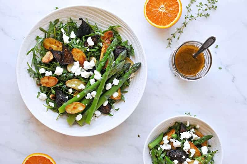 Roasted Fig + Potato Salad with Asparagus, Goat cheese + Honey-Orange Balsamic Vinaigrette recipe (via thepigandquill.com) #vegetarian #spring #lunch #dinner