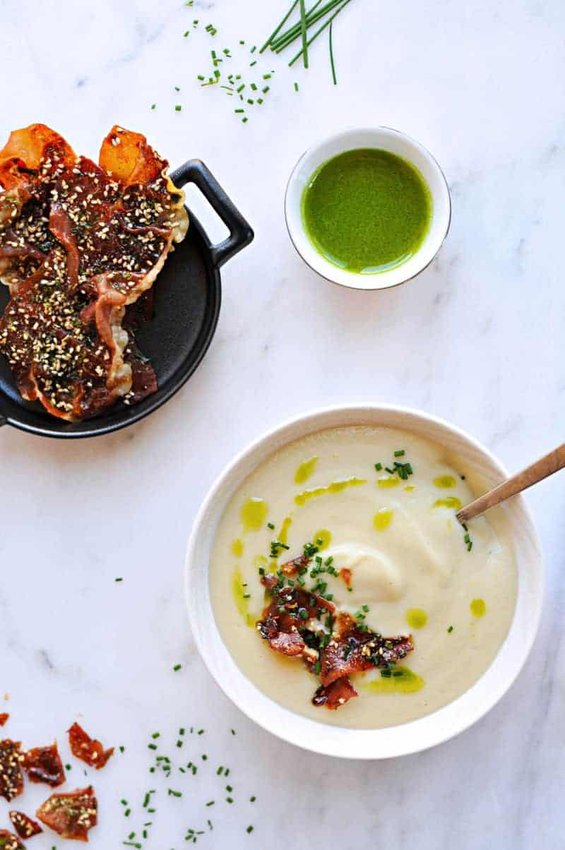 Creamy White Miso + Cauliflower Soup with Candied Furikake Prosciutto + Garlic Chive Oil recipe (via thepigandquill.com) #glutenfree #spring
