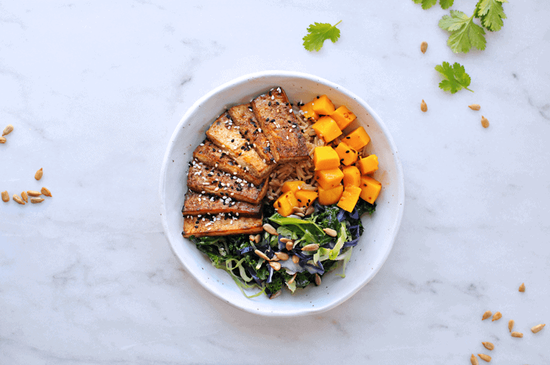 Sesame Balsamic Tofu Bowls with Chile Mango + Sunflower-Cilantro Pesto recipe from @thepigandquill | thepigandquill.com | #vegan #dairyfree #glutenfree