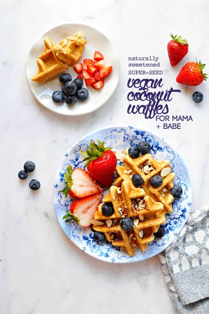 Naturally Sweetened Super Seed Vegan Coconut Waffles (for mama + babe!) from @thepigandquill (via thepigandquill.com) #dairyfree #eggfree #babyledweaning #blw #babyfood