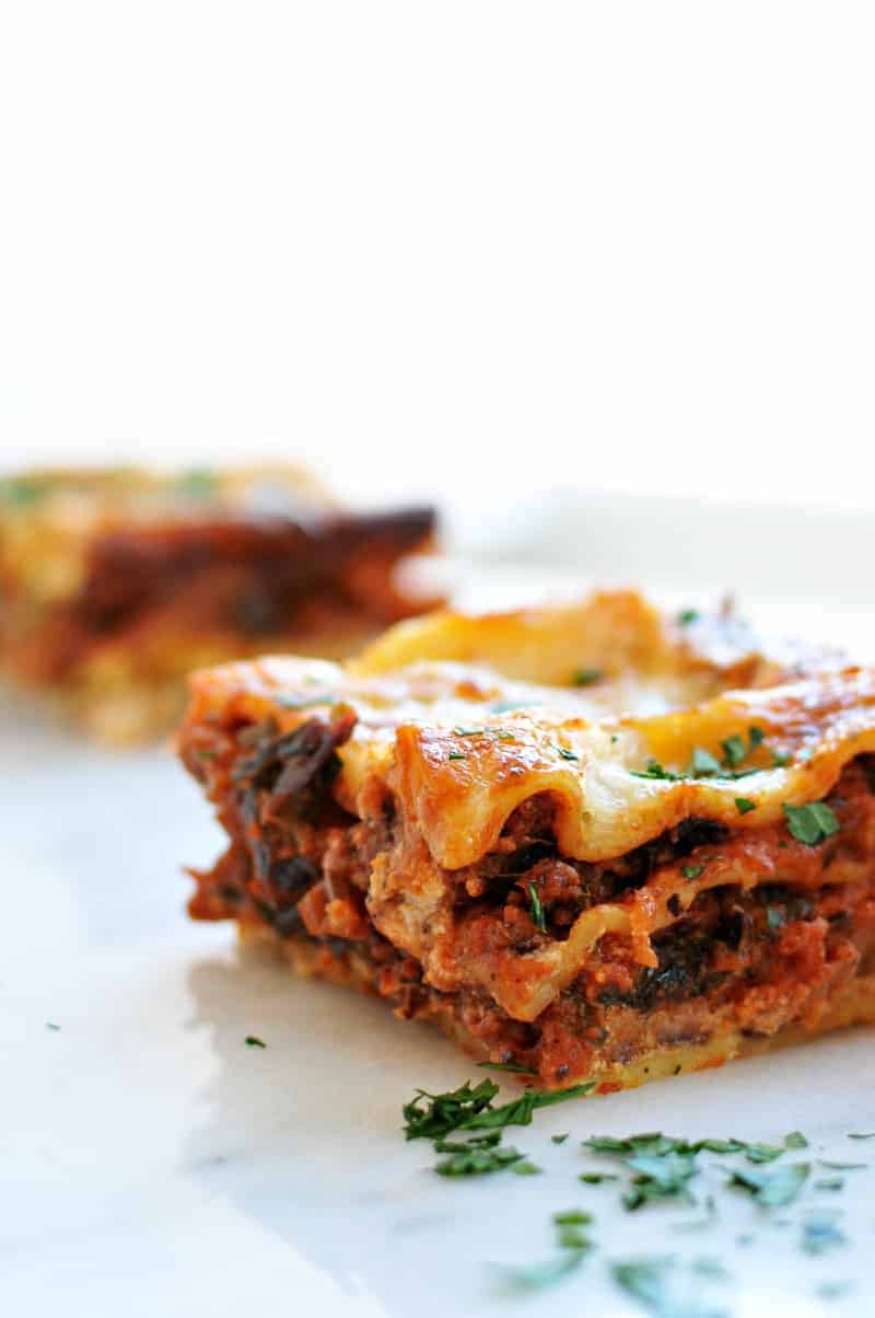 Overnight Miso-Braised Sausage + Chard Lasagne recipe (via thepigandquill.com) Possibly the simplest and tastiest lasagne yet! #dinner #cheese #eggfree