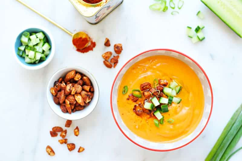 pacho Andaluz with Smoked Paprika-Glazed Almonds recipe (via thepigandquill.com) #vegetarian #dairyfree #vegan #soup #summer