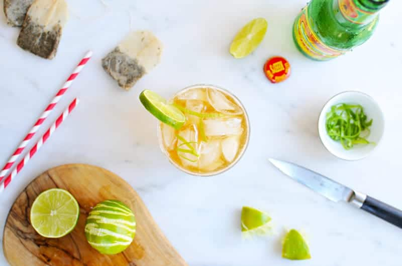 Gingered Mint Tea Sparkler recipe (via thepigandquill.com) #nonalcoholic #mocktail #summer