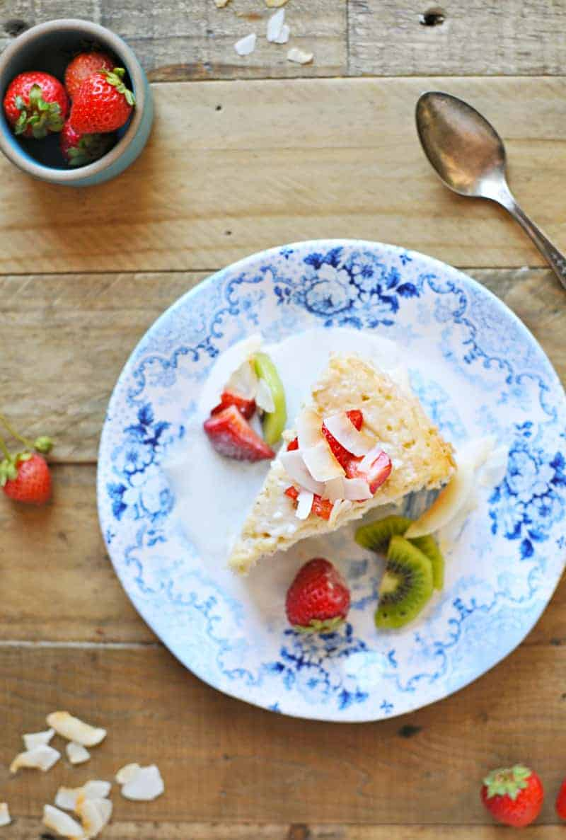 Triple Coconut Tres Leches Cake with Honey-Vanilla Summer Fruit recipe (via thepigandquill.com) #dairyfree #glutenfree #dessert