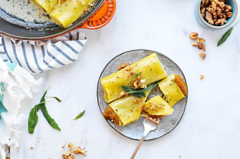 Savory Pumpkin Cannelloni with Candied Walnuts + Crispy Sage Recipe ...